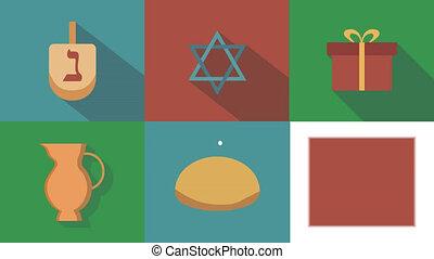 Hanukkah holiday flat design animation icon set with traditional symbols and english text