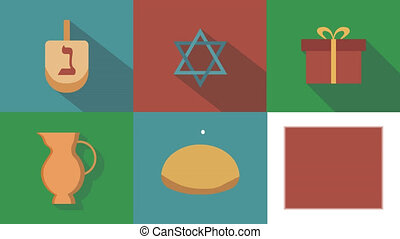 Hanukkah holiday flat design animation icon set with traditional symbols and hebrew text