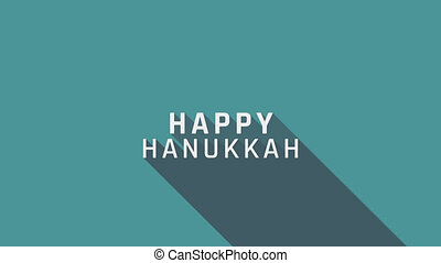 Hanukkah holiday greeting animation with menora icon and english text