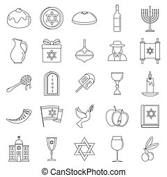 Hanukkah holiday icon set, outline style - Hanukkah holiday...