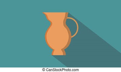 Hanukkah holiday jug of oil flat design animation icon