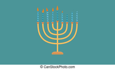 Hanukkah holiday Menora flat design animation icon. loop...