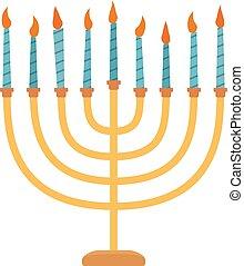 Hanukkah holiday Menora flat design icon