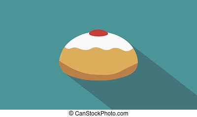 Hanukkah holiday Sufganiyah flat design animation icon