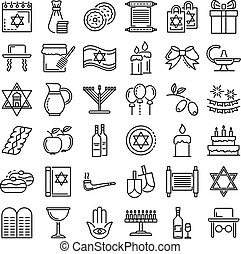 Hanukkah icon set, outline style - Hanukkah icon set....