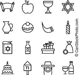 Hanukkah icons set jewish