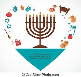 hanukkah, jüdisch, symbole, berühmt, illustrationen, feiertag