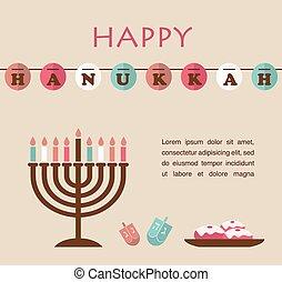 hanukkah, jüdisch, symbole, berühmt, vektor, illustrationen, feiertag