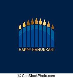 jewish menorah simple vector icon. hanuka candles symbol. -...