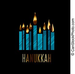 hanukkah juish vector illustration. jewish menorah simple...