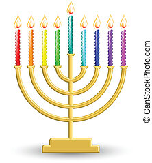 Hanukkah lamp - Vector illustration of gold Hanukkah lamp