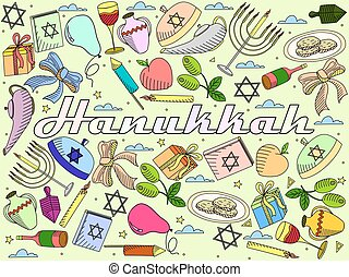 Hanukkah line art design vector illustration. Separate...