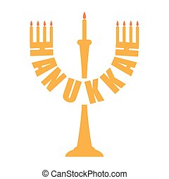 Hanukkah logo. Menorah symbol. Jewish religious holiday. Vector illustration