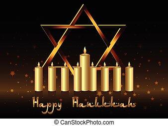 hanukkah, luces, postal, felicitaciones, fiesta