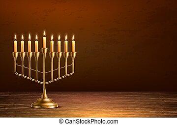 hanukkah, madera, vector, feriado, judío, tabla, menorah