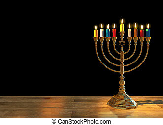 Hanukkah menorah 3D render - Menorah Hanukkah lamp which is ...