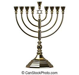 Hanukkah menorah 3D render - Menorah Hanukkah lamp which is...