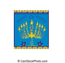 hanukkah menorah abstract card