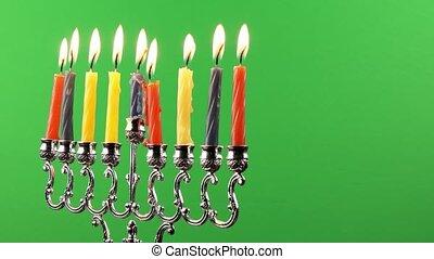 Hanukkah menorah candles greenscre - Hanukkah menorah with...