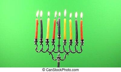 Hanukkah menorah candles greenscree - Hanukkah menorah with...