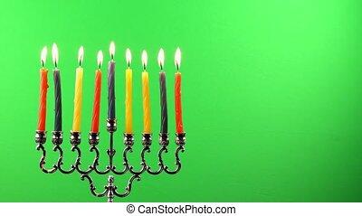 Hanukkah menorah candles greenscree