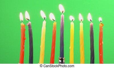 Hanukkah menorah candles greenscreen - Hanukkah menorah with...
