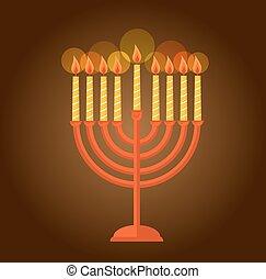 Hanukkah menorah greeting on brown background - Hanukkah...