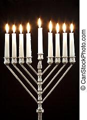 Hanukkah Menorah / Hanukkah Candles - Silver Hanukkah ...