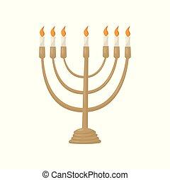 hanukkah, menorah, noha, égető, gyertya, vektor, ábra, képben látható, egy, white háttér