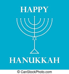 Hanukkah Menorah on Light Blue Background a - Hanukkah...