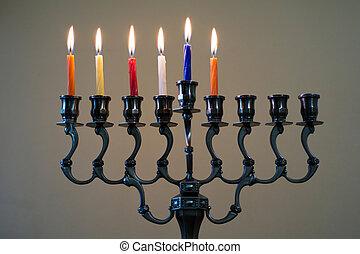 Hanukkah menorah on the fifth day of Hanukkah - Hanukkah...