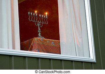 Hanukkah menorah on the first day of Hanukkah - AUCKLAND, NZ...