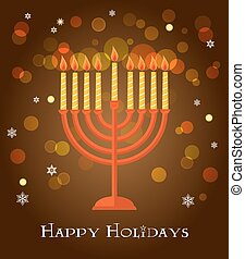 hanukkah, menorah, plano de fondo, marrón, saludo