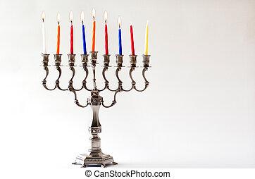 Hanukkah menorah - Sixth day of Hanukkah - Lit Hanukkah...