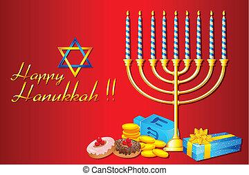 Hanukkah Menorah - illustration of burning candle in...