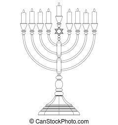 Hanukkah menorah vector - Menorah Hanukkah lamp which is lit...