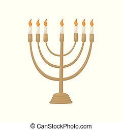 Hanukkah menorah with burning candles vector Illustration on a white background