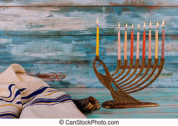 Menorah for Hanukkah celebration with candles for chanukah