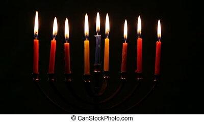 Hanukkah menorah with candles happy burning - Hanukkah...