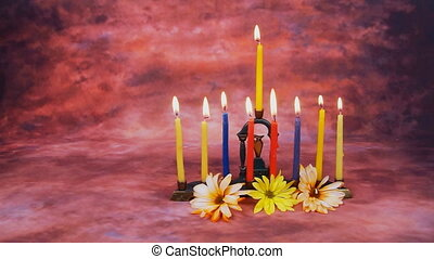 Hanukkah menorah with candles - Jewish holiday Hanukkah...
