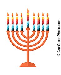 Hanukkah meora with colorful candles. jewish holiday