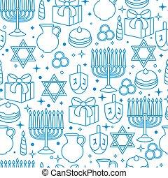 hanukkah, modèle, seamless, célébration, objets, vacances, heureux