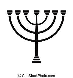 hanukkah, oro, simple, menorah, icono