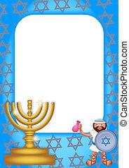 hanukkah, página, borda