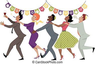 Hanukkah party - Diverse group of friends dancing conga line...