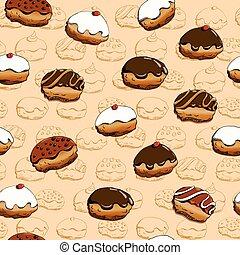 hanukkah, patrón, rosquillas, seamless