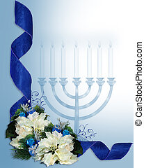 Hanukkah ribbons border - Image and illustration composition...
