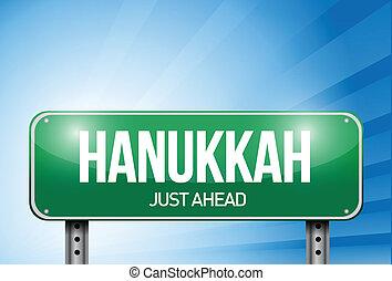 hanukkah road sign illustration design over a white...