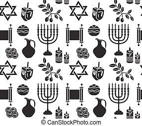 hanukkah, símbolo, dreidel., vector, feliz, banquete, fiesta...