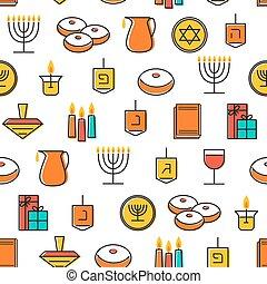 Hanukkah seamless pattern. Hanukkah symbols. Hanukkah...